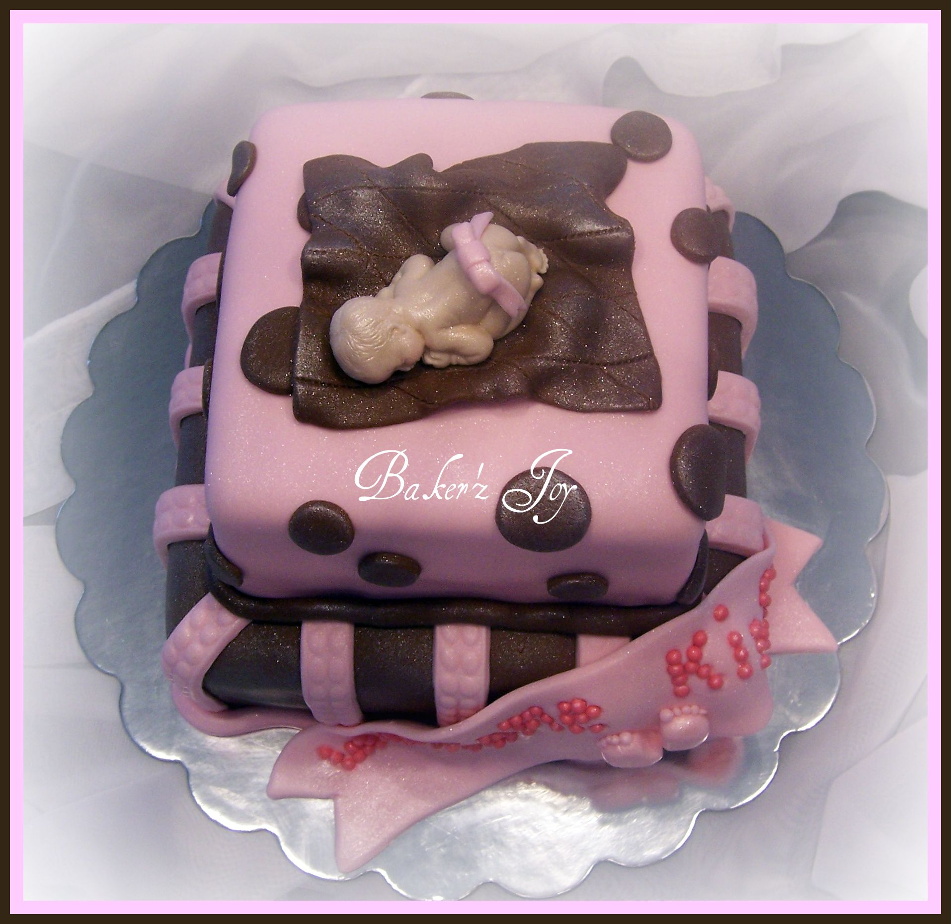 Baby shower cake with fondant baby